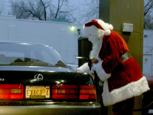 """Mommy, why is Santa Claus putting gas in that car?"""