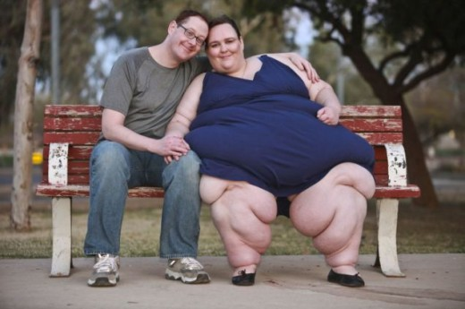 """Susanne Eman and her """"feeder"""" fiance Parker Clack.  Clack is a chef who wants to help Susanne reach her goal to be the world's fattest woman."""