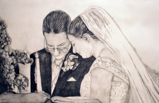 Pencil drawing of my favorite photo from Jim and Kim's wedding.