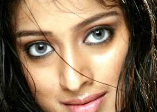 Lakshmi Rai's gray eyes.