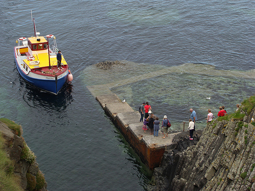 Ferry arriving at Staffa