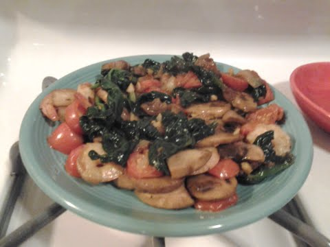 The finished Shrimp and Spinach dish.