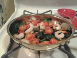Now with the shrimp and cherry tomatoes