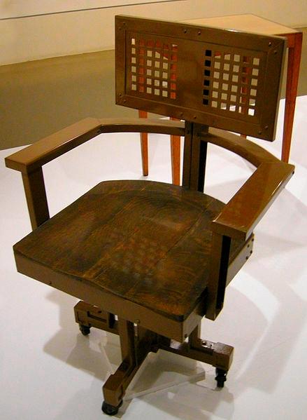 Wooden Office Chair Design, Frank Lloyd Wright, 1904-06