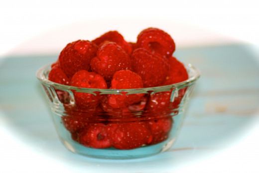 Red, red raspberries.