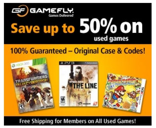 An ad on Gamefly advertising their used games.