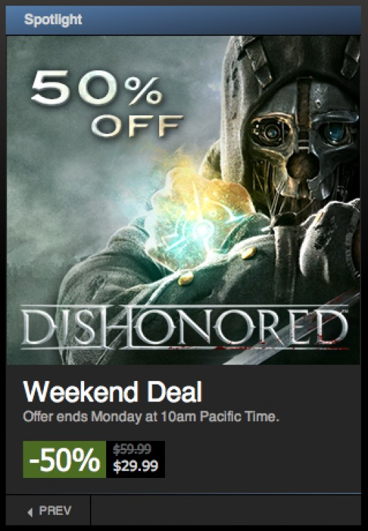 Steam always has a sale going on.  Usually it's one or two games at a time, but during their bigger sales, it can be hundreds of computer games on sale.