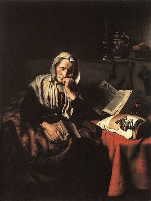 Old Woman Dozing Nicolaes Maes