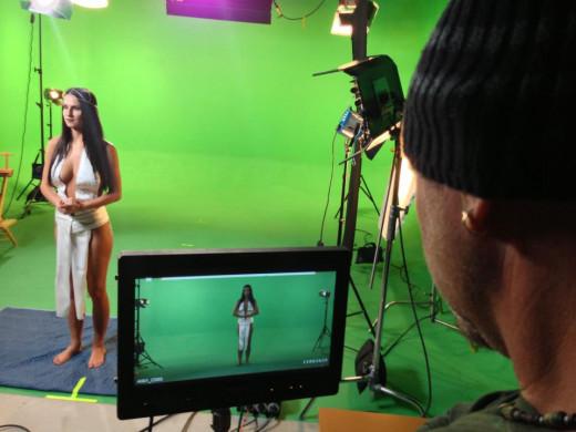 "Mihaela Lacramioara  on the set of ""Millenium Bug"""