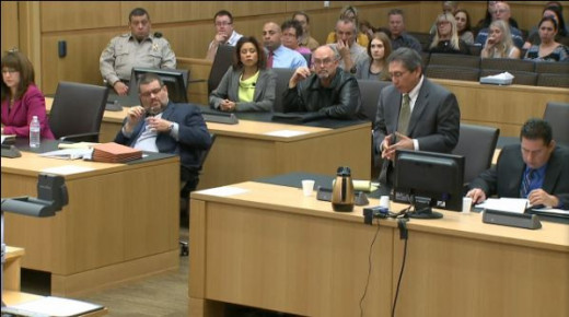 Defense attorneys Jennifer Wilmott and Kirk Nurmi and prosecution team Juan Martinez and Detective Esteban Flores