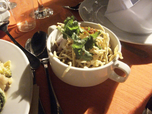 This is the Khao Soi Kai (Chiangmai Chicken Curry Yellow Noodles). I found it too spicy for my tastes.