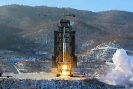 North Korean Unha-3 rocket lifts off, December, 2012