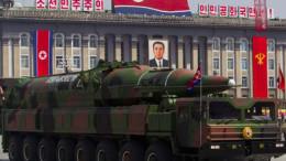 North Korean mobile rocket launcher on parade