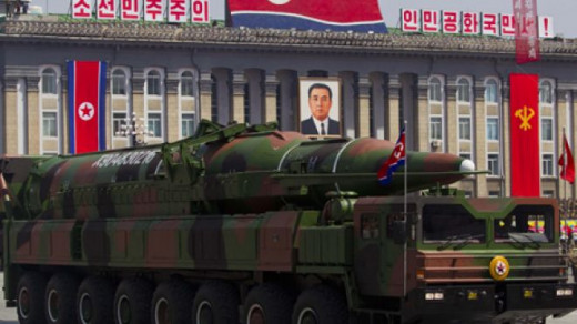 North Korean mobile rocket launcher on parade