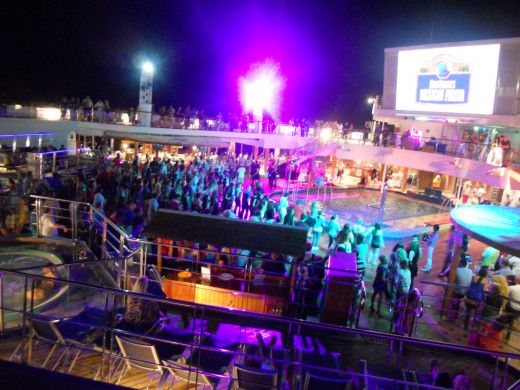 Deck Party with view of the Seaside Theater Screen