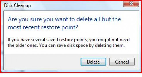"Disk Cleanup will ask you, ""Are you sure you want to delete all but the most recent restore point?"""