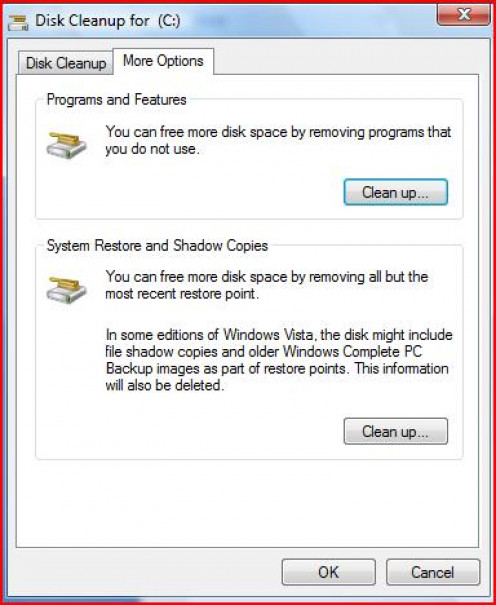 More options for Disk Cleanup. You can choose to clean up Programs and Features and System Restore and Shadow Copies