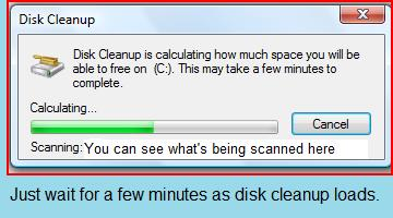 It's okay. It really doesn't take all that long for Disk Cleanup to scan. Just be patient.