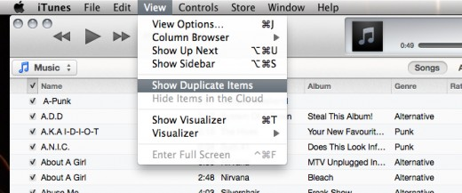"in ""songs"" display click ""view  Show duplicate items"""