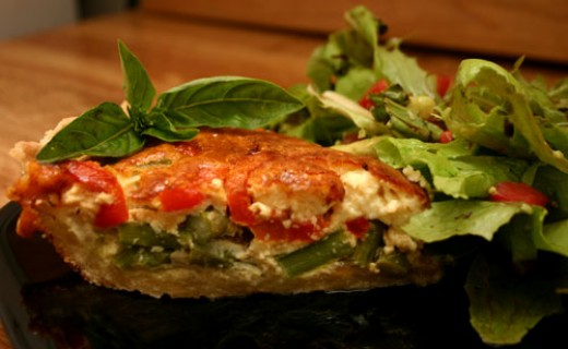 asparagus and roasted red pepper quiche with salad