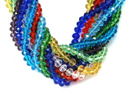 Shiny multicolored crystal texture Glass bead necklace which can be used in a single form as well as collectively