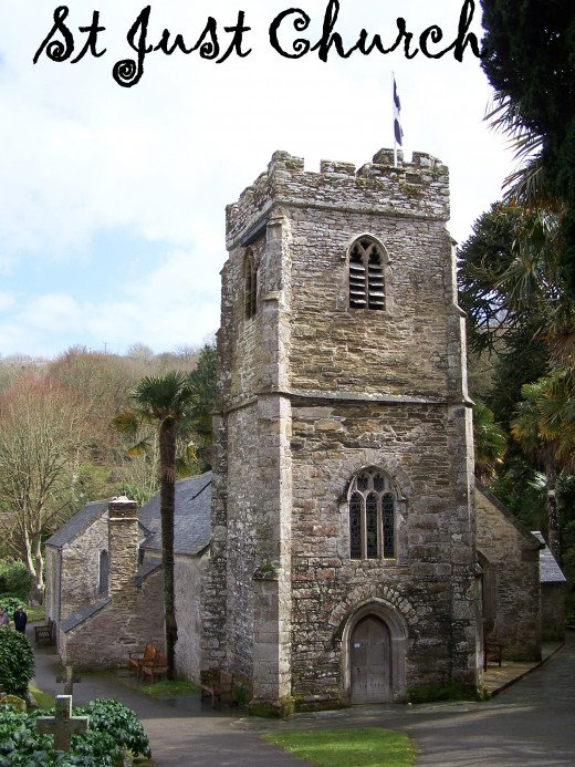 Holy Wells in Cornwall.  St Just in Roseland Church.  A 13th Century Creekside Church.  Source: Author