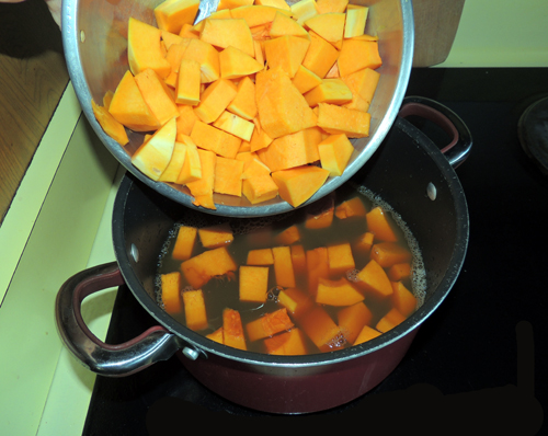 add squash when stock is boiling, simmer until tender