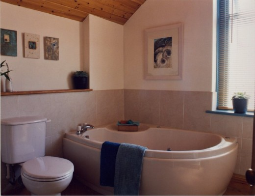 Bathroom with artwork by author and ceramicist Lisa Main..