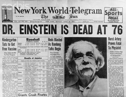 Newspaper Reporting Albert Einstein's Death in 1955 at the Age of 76