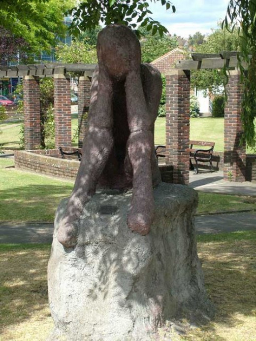 """The Worrier."" Situated in the waterside park east of the river Cray near Kent, a county in southeast England."