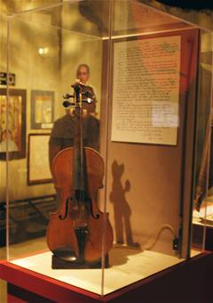 "Violin in the ""Prejudice & Memory: A Holocaust Exhibit"" at the National Museum of the US Air Force."