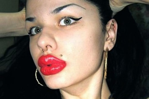 Russian woman Kristina Rei has the largest recorded lips. (Unnatural, of course.)