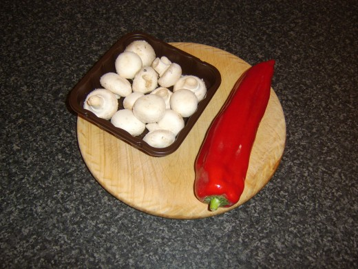 Button mushrooms and a sweet pointed pepper