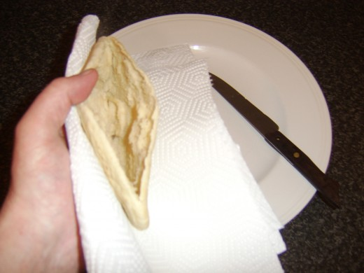 Pocket is cut in pitta bread