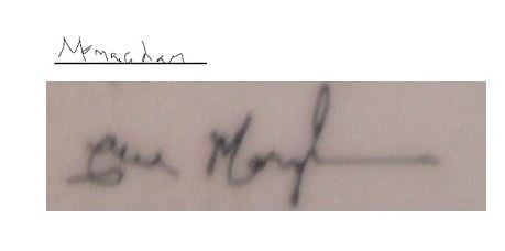 the top one is there sig of my name, the bottom one is the real deal