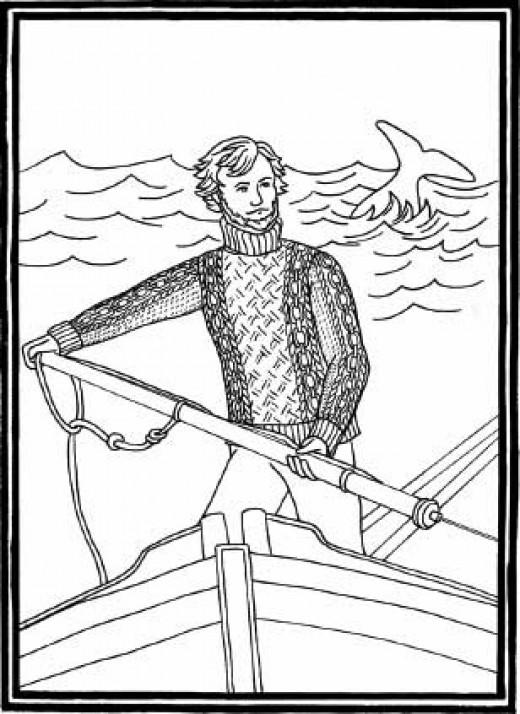 Ahab hunts the white whale in his Aran Gansey.