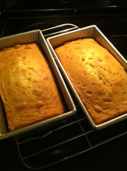 Fresh from the oven. Let them cool 10 minutes in the pan before turning them out.