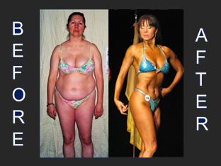 Jess (47) lost 60 pounds and won 3rd place in a figure competition.