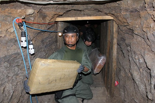A drug smuggling tunnel discovered inside a warehouse near San Diego.
