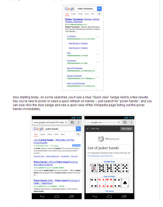 Expandable site links is top / Quick view card is at bottom of print screen from Google Inside Search blog.