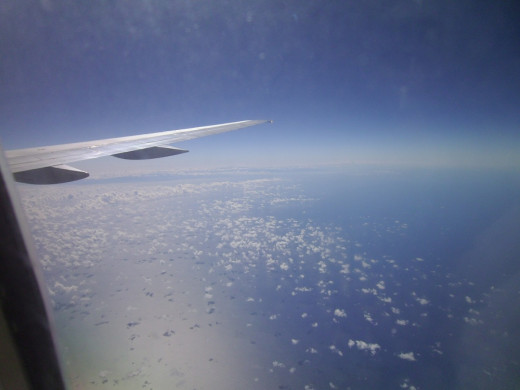 The Caribbean from the window of a 757.