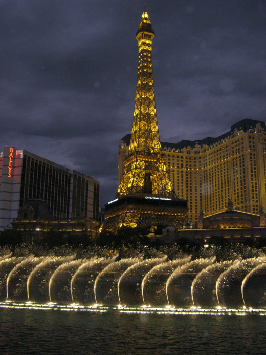 "The ""Eiffel Tower"" in Front of Paris Hotel in Las Vegas. This picture was taken from the Bellagio hotel with the fountains in front of the tower. Beautiful hotel and very recognizable with its version of the Eiffel Tower in front!"