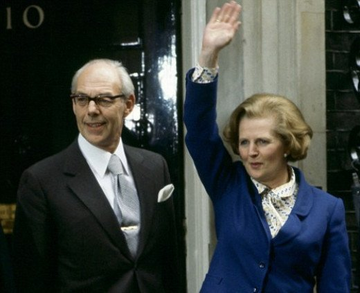 Margaret and her beloved husband, and faithful aide, Denis, acknowledging the crowd outside No. 10 Downing Street after her election victory in May, 1979.