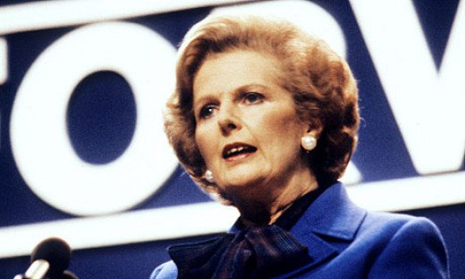 Thatcher giving her speech during the 1982 Conservative Party Conference in Brighton.