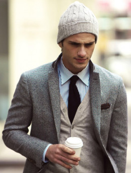 Man wearing beanie combined with suit