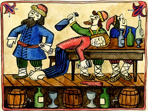 Russian Painting, Depicting Excessive Drinking