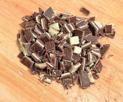 Chop up about 1 cup of Andes Mints.
