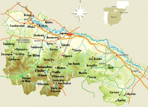 Map of the Rioja wine region in northern Spain.