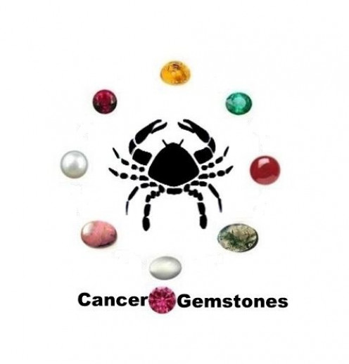 Cancer Gemstones : Amber, Moonstone, Pearl, Carnelian, Rhodonite, Emerald, Ruby, Moss Agate and Pink Tourmaline.