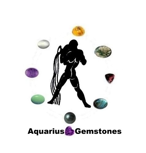 Aquarius Gemstones : Amber, Black Pearl, Sugilite, Garnet, Moonstone, Labradorite, Chrysoprase, Moss Agate and Amethyst.